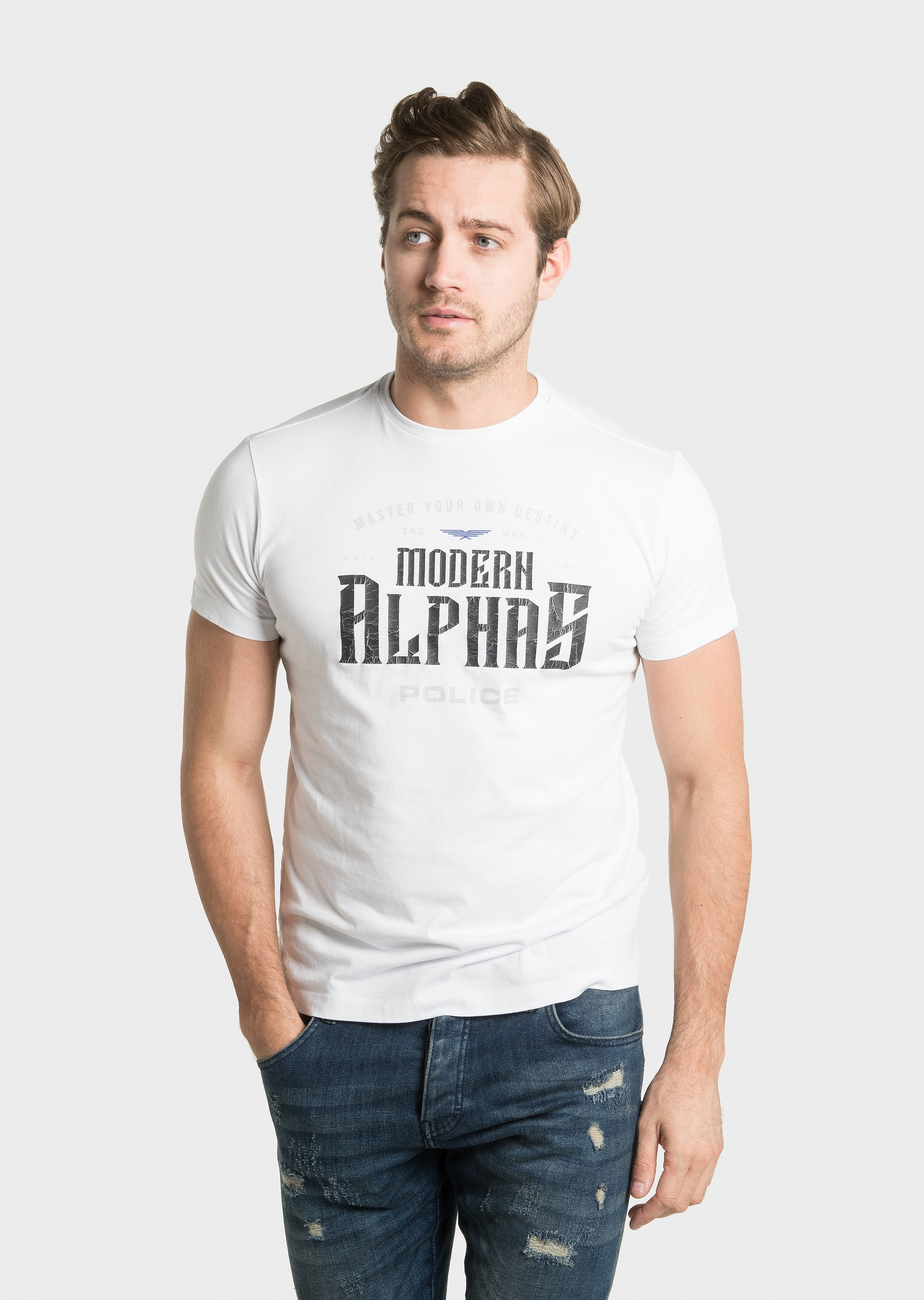 Image of 883 Police Alpha White Mens T-Shirts