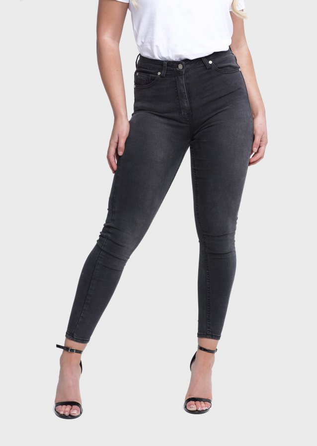 High Waisted Black Wash Jeans
