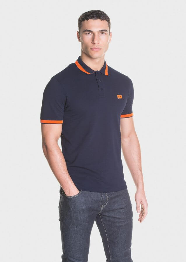 Mercerised piqué polo shirt with printed logo on the chest