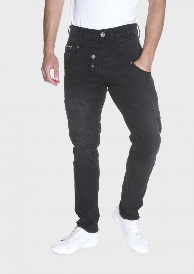 Moriarty Atlanta 409 Washed Out Black Front Waistband Slim Stretch Jeans