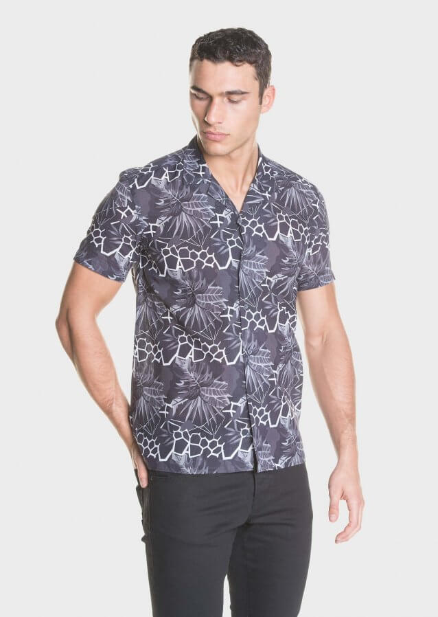 Cotton resort style shirt with all-over print