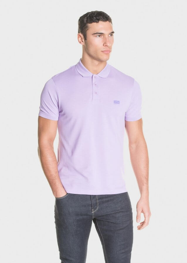 Mercerised piqué polo shirt with tonal chest print