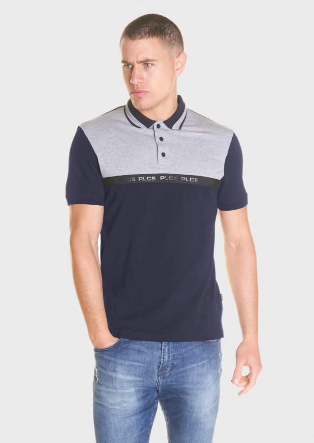 Short sleeved polo shirt in mercerised pique and jersey with logo tape