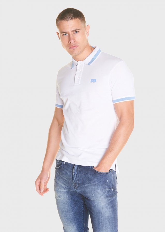 Mercerised pique tip polo shirt with chest printed logo