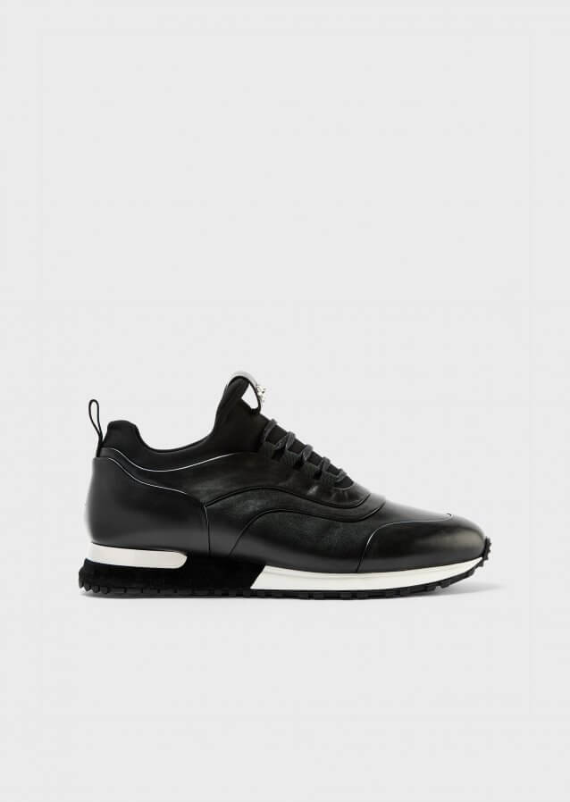 Calf leather and technical fabric sneakers