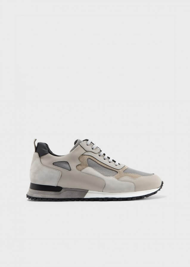 Sneakers in suede and mat leather with mesh details