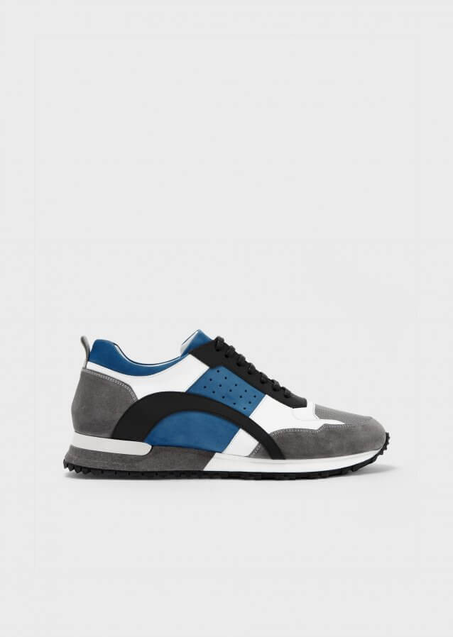 Sneakers in suede and mat leather