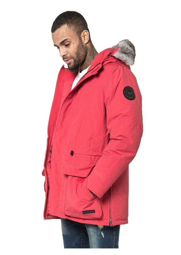 Guido Regular Fit Duckdown Hooded Jacket (Red;S)