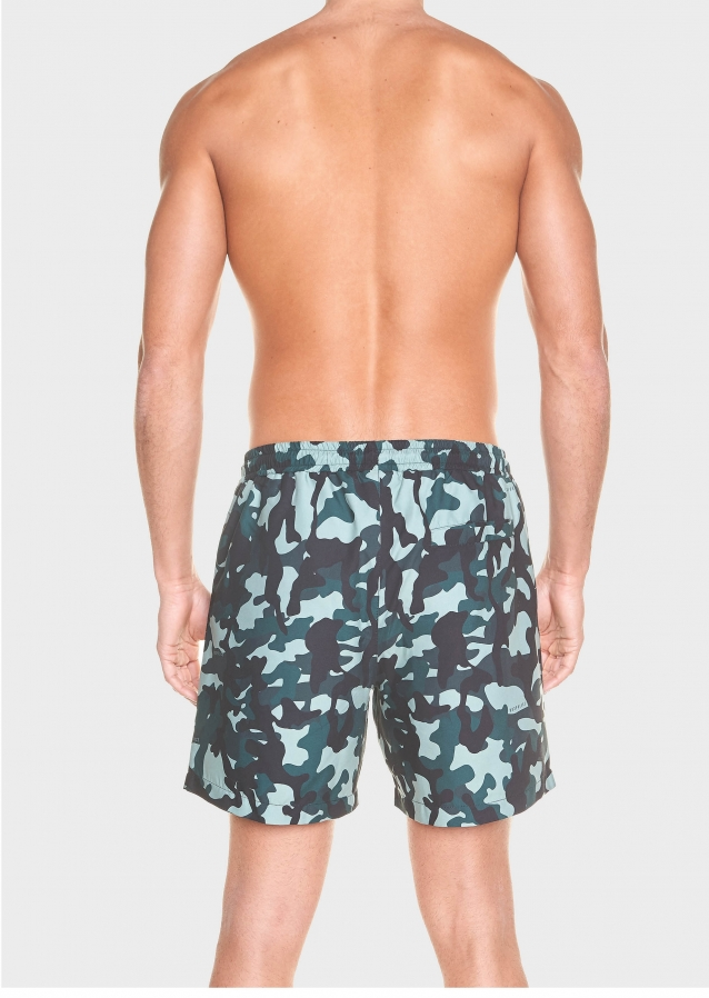 Halsh Khaki Printed Swim Shorts