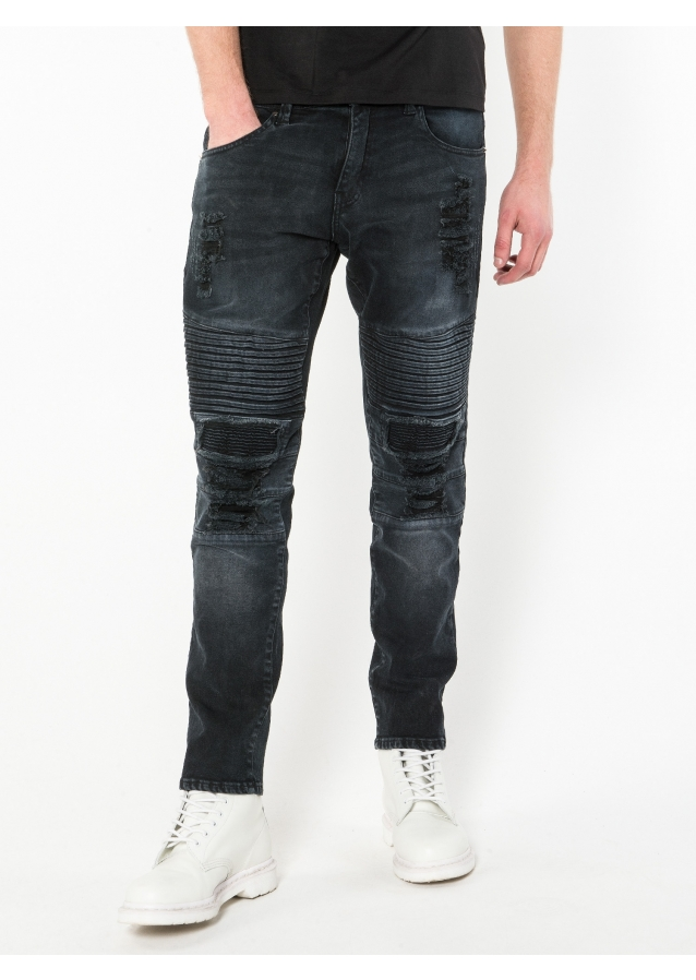 Moriarty 449 Buell Slim Fit Stretched Biker Detail Jeans