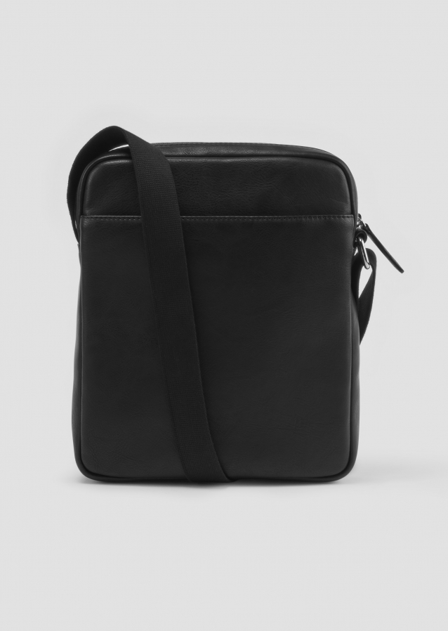 Cross Body Bag black with rubberised logo