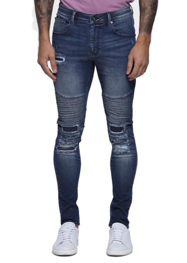 Brady Buell 528 Skinny Fit Stretched Biker Detailed Jeans