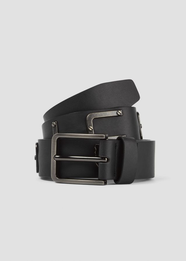 Leather belt with metal branding