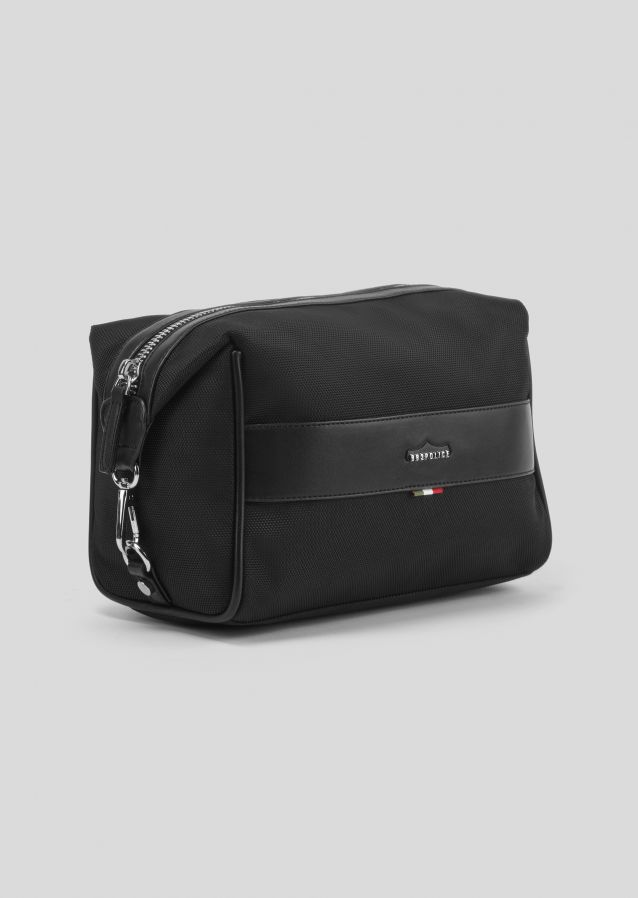 Toiletry bag in poly twill fabric with metal logo