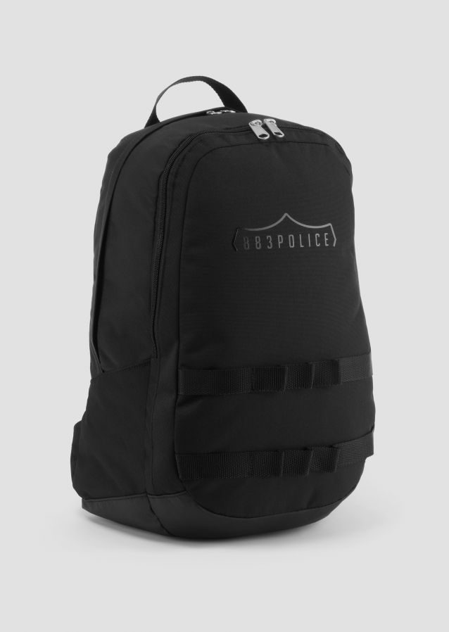 Poly twill backpack with logo on front