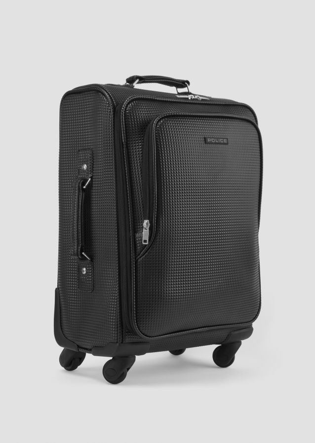 Black Suitcase in soft leather with pyramid effect