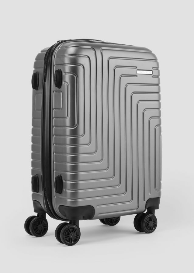 Grey Suitcase in ABS with metal logo and TSA closure