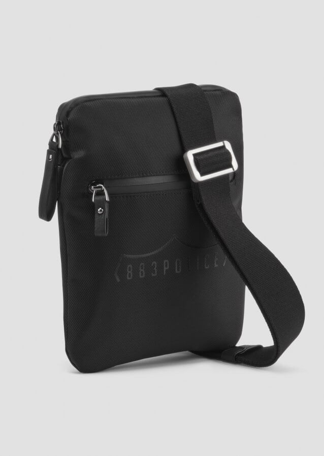 Side bag with shoulder strap in tech fabric with logo