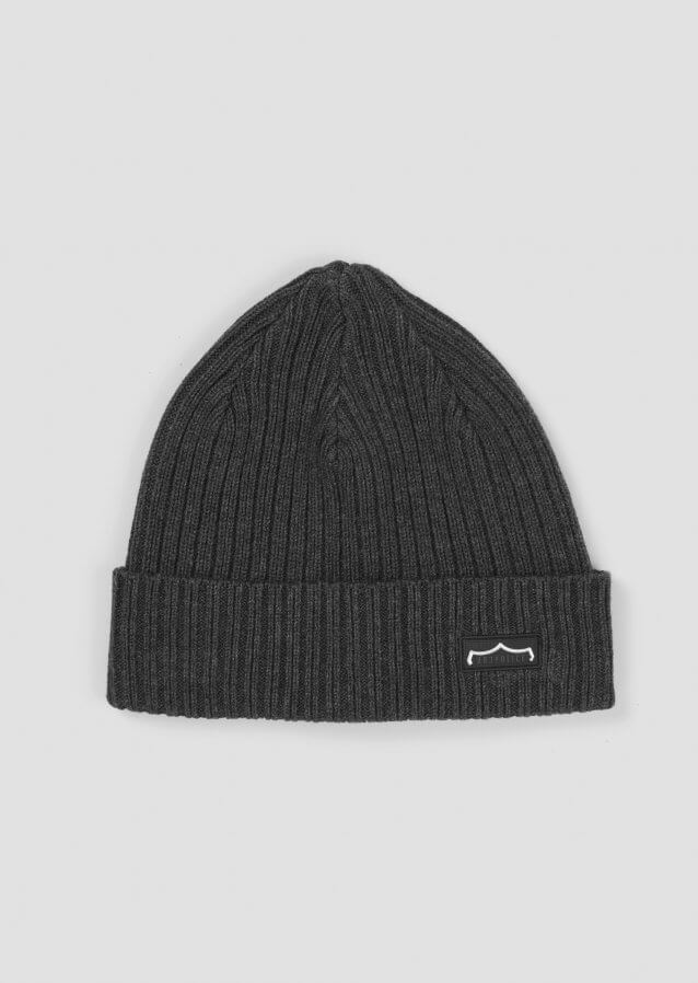 Rib-knit cotton beanie with rubber logo