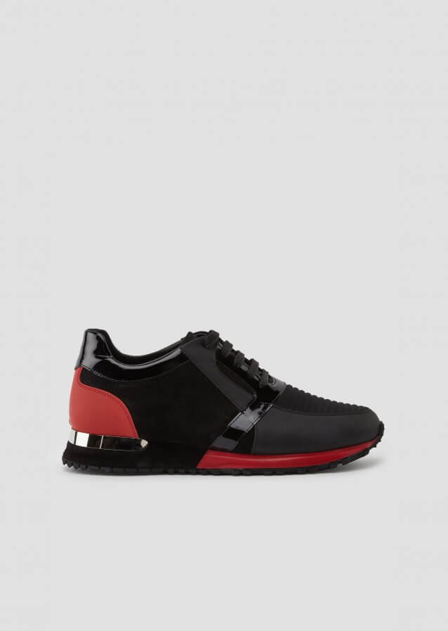Technical sneakers in calf leather and suede