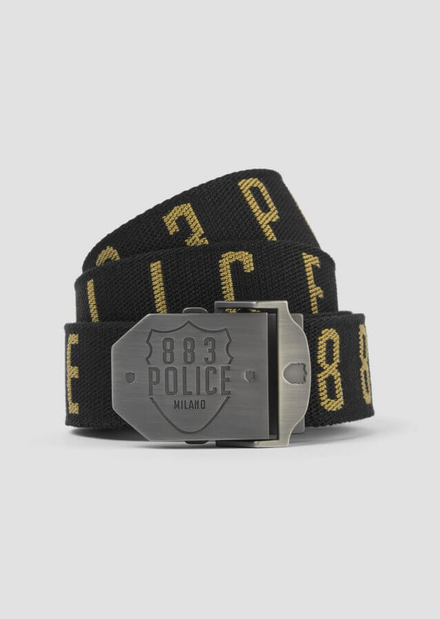 Utility belt with woven text and logo in metal