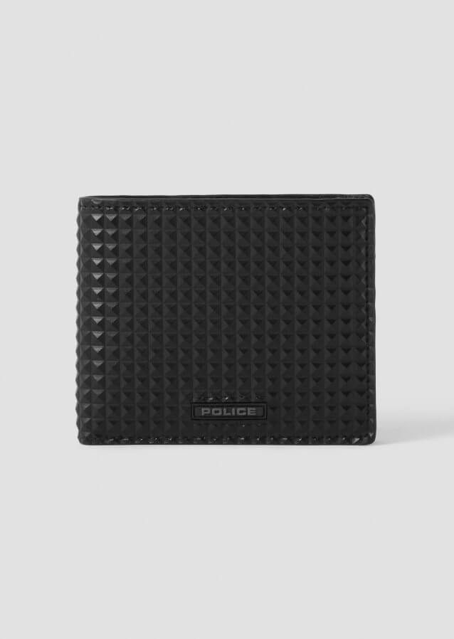 Police Black Rubberised Piramid Wallet