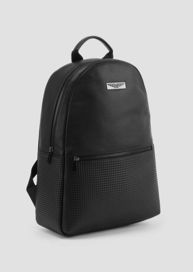 Mini backpack in black with rubberised logo