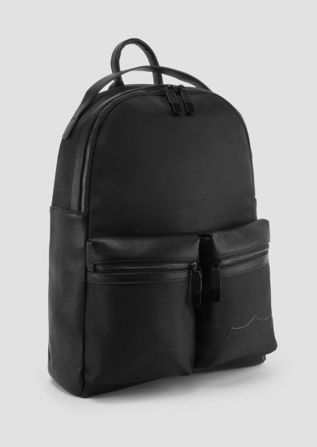 Backpack in poly twill with front pockets