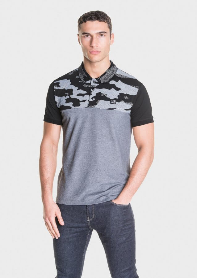 Polo shirt in cotton fabric with printed camo design and logo on the chest