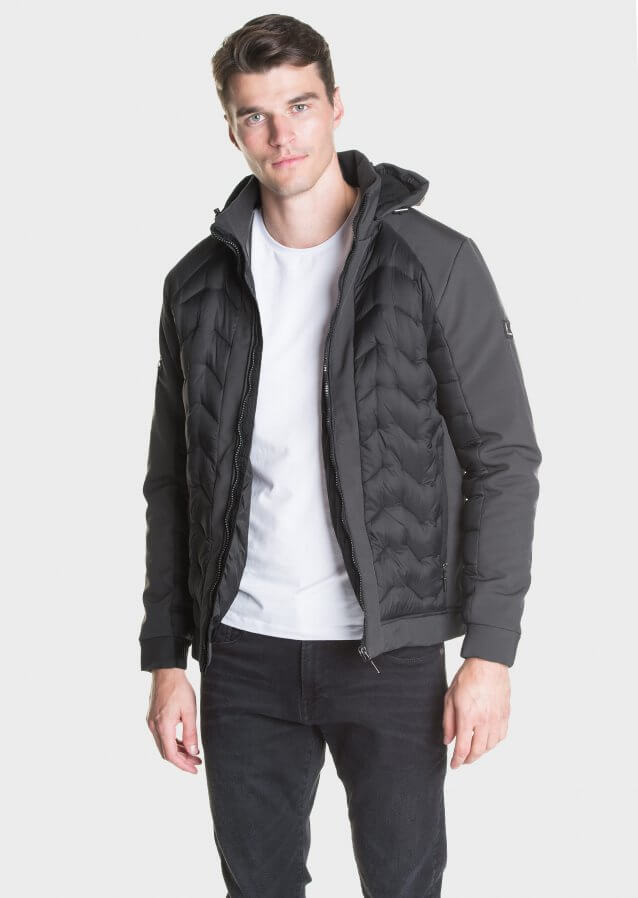 Quilted technical jacket with branding on sleeve