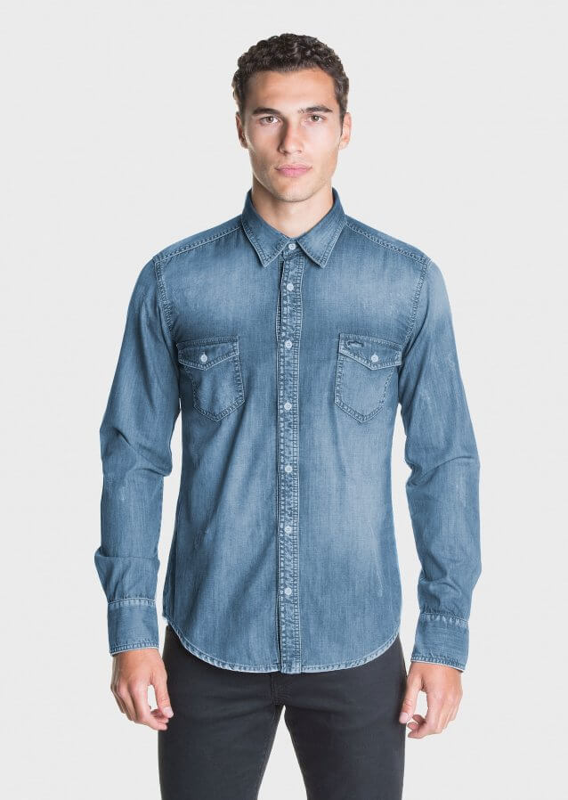 Washed out denim shirt
