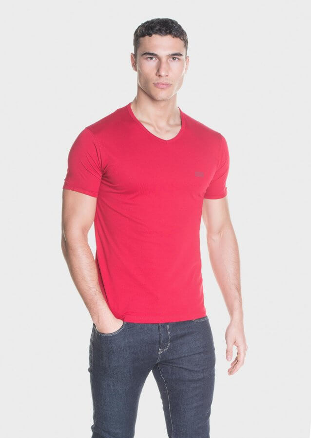V-neck basic cotton jersey T-shirt with logo