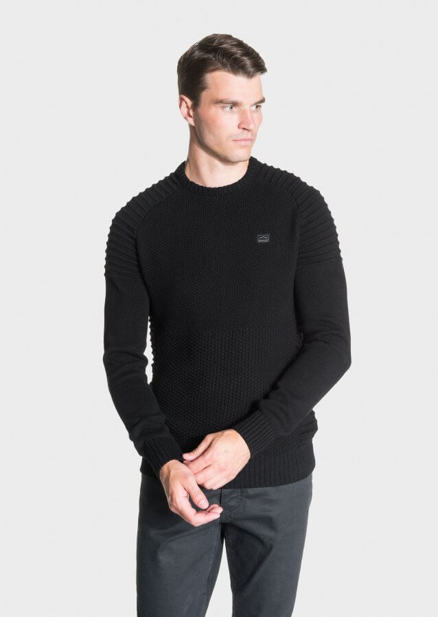 Regular-fit heavyweight cotton sweater with a biker style ribbed finish