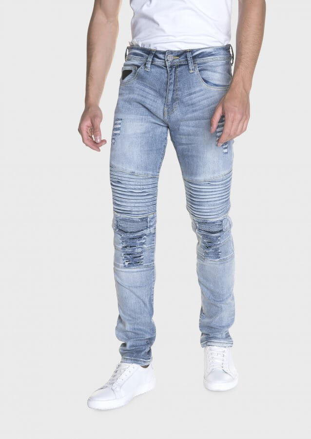 Moriarty Buell 479 Slim Fit Stretch Biker Detail Jeans