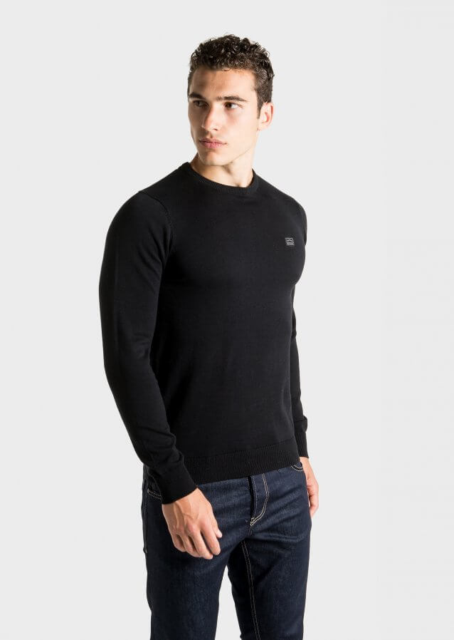 Slim-fit lightweight sweater with logo on chest