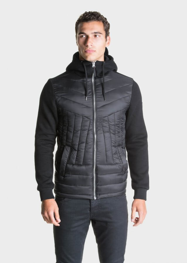 Hybrid zip-through jacket with hood