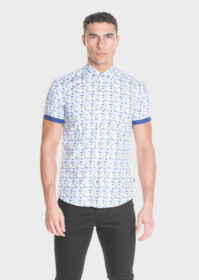 Cotton short sleeve shirt with all-over print
