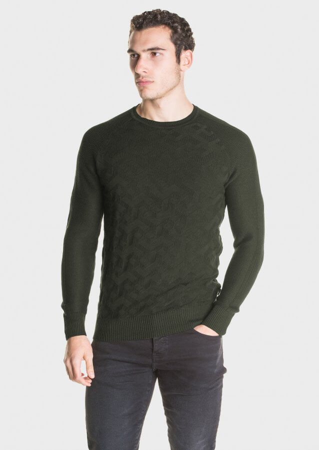 Mid-weight cotton sweater with geometric pattern and ribbed sleeves
