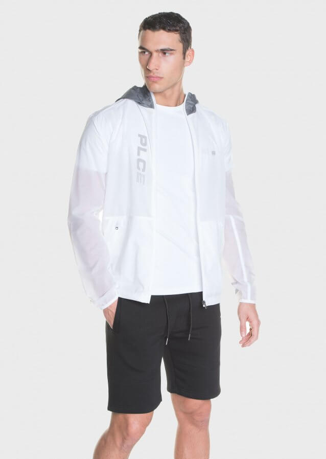 Light weight packable hooded jacket in translucent fabric