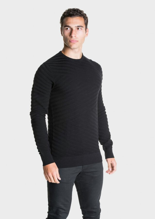 Regular-fit lightweight cotton sweater with all-over stripe texture