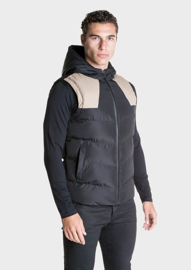 Padded gilet with colour-block panelling