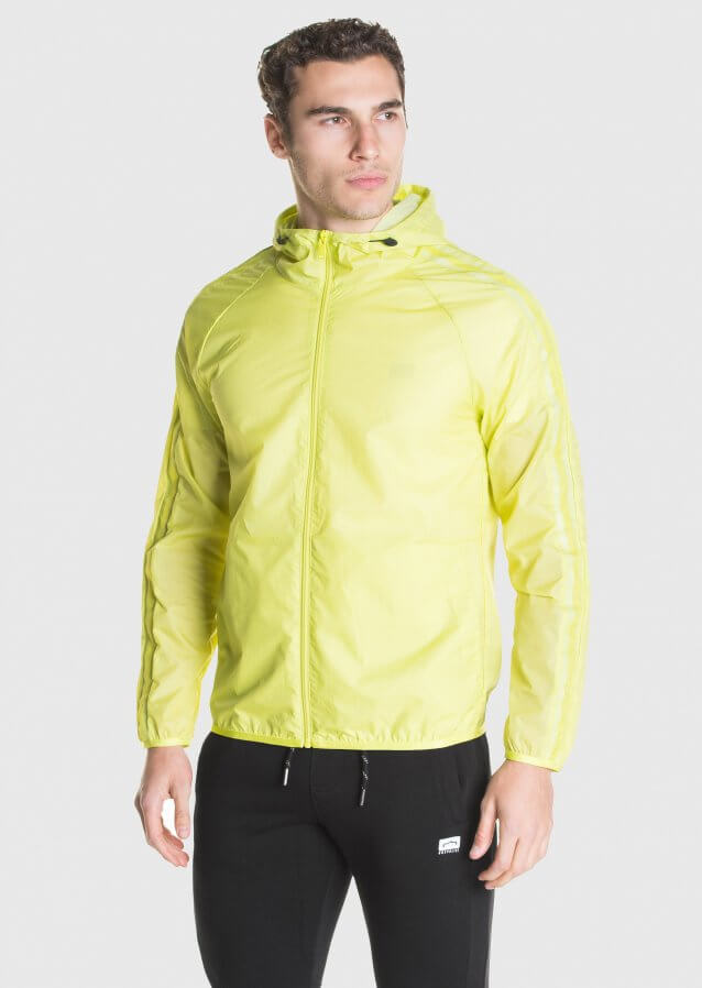 Light weight packable hooded jacket in nylon fabric