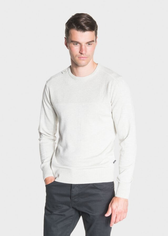 Mid-weight regular-fit cotton sweater with biker style zip on shoulder